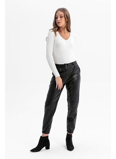 Tiffany&Tomato Yüksek Bel Jogger Deri Pantolon - Taba Siyah